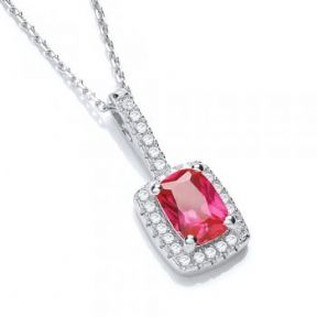 J-Jaz Micro Pave' Fancy Pendant Red Small Cz with 18